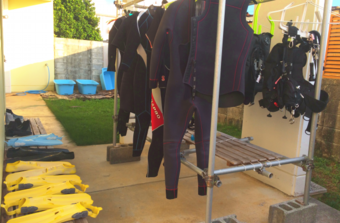 Okinawa Miyakojima Diving Aquatic Adventure Equipment parts washing space, drying place